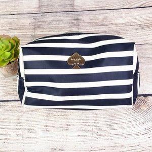 Kate Spade Stripe Stevie Cosmetic Bag Black White